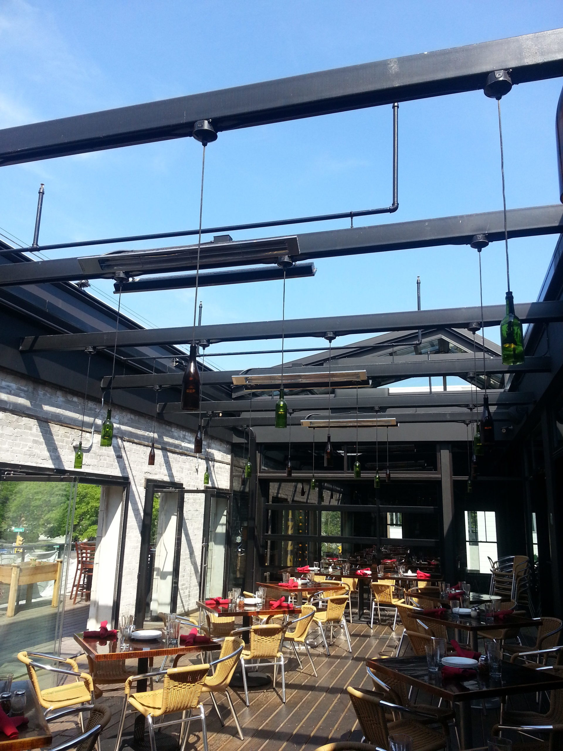 Retractable skylight at a restaurant