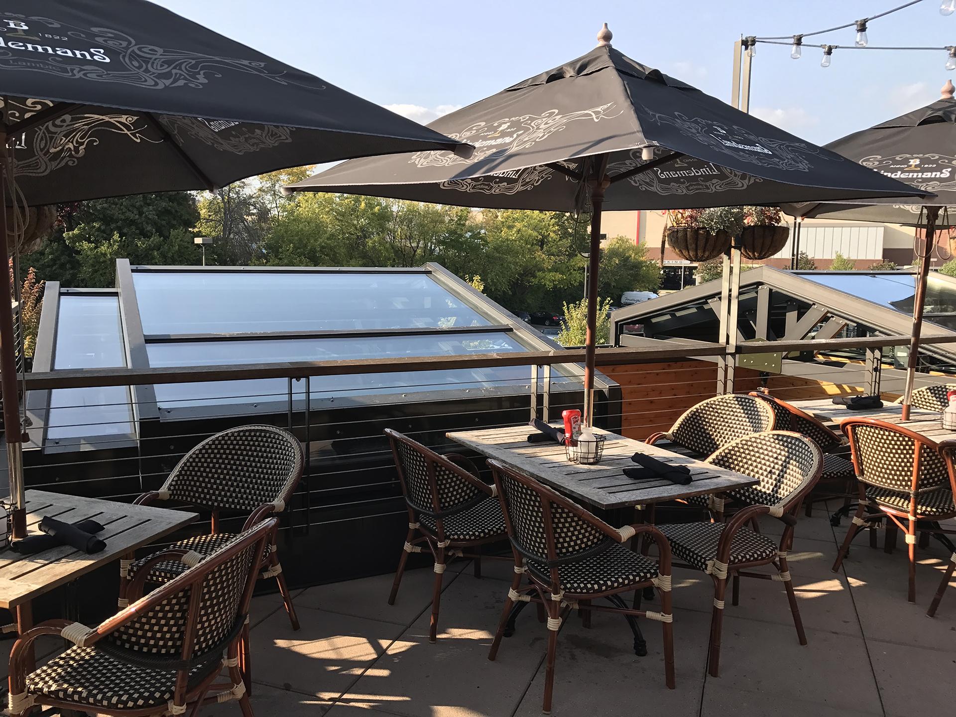 Rooftop view of retractable skylight in restaurant