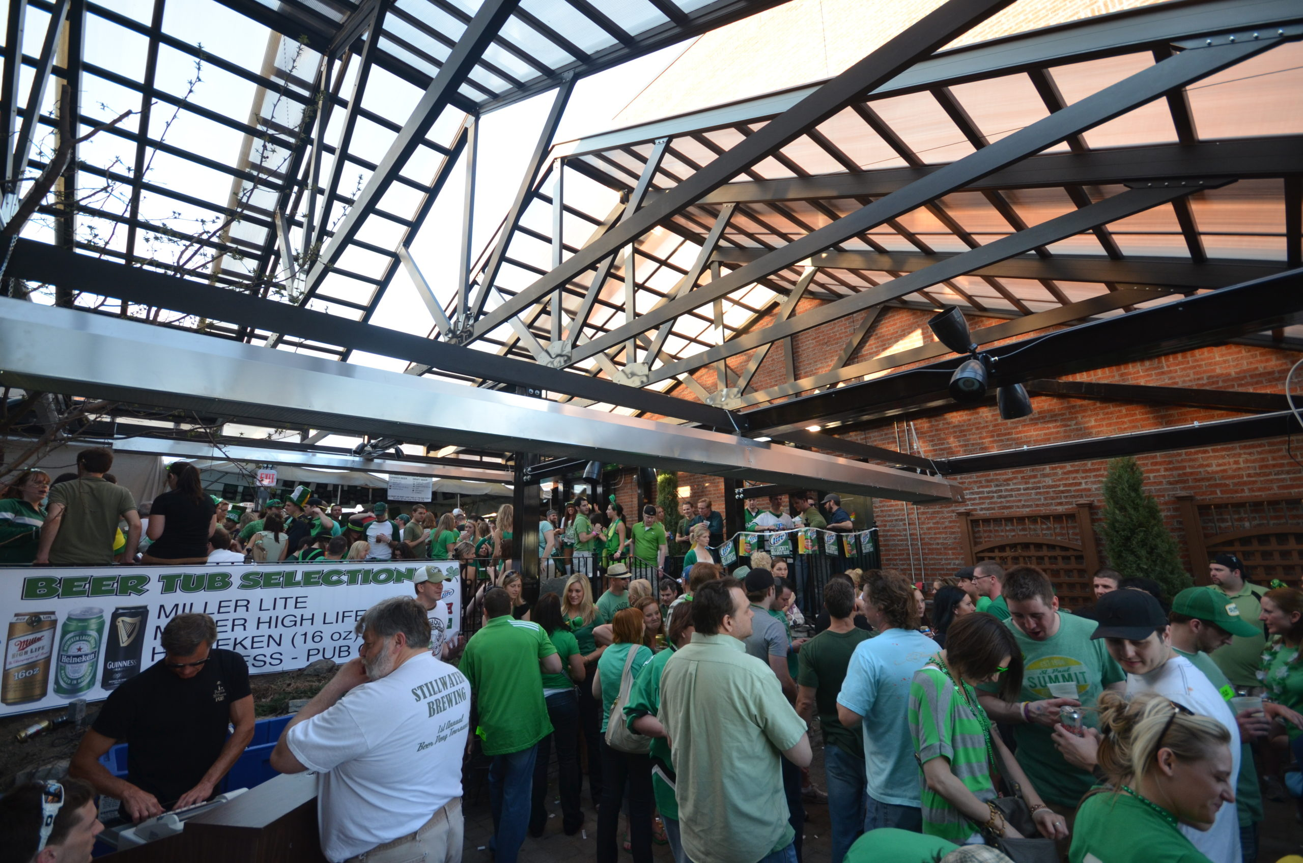 Saint Patrick's Day on a patio with retractable roof