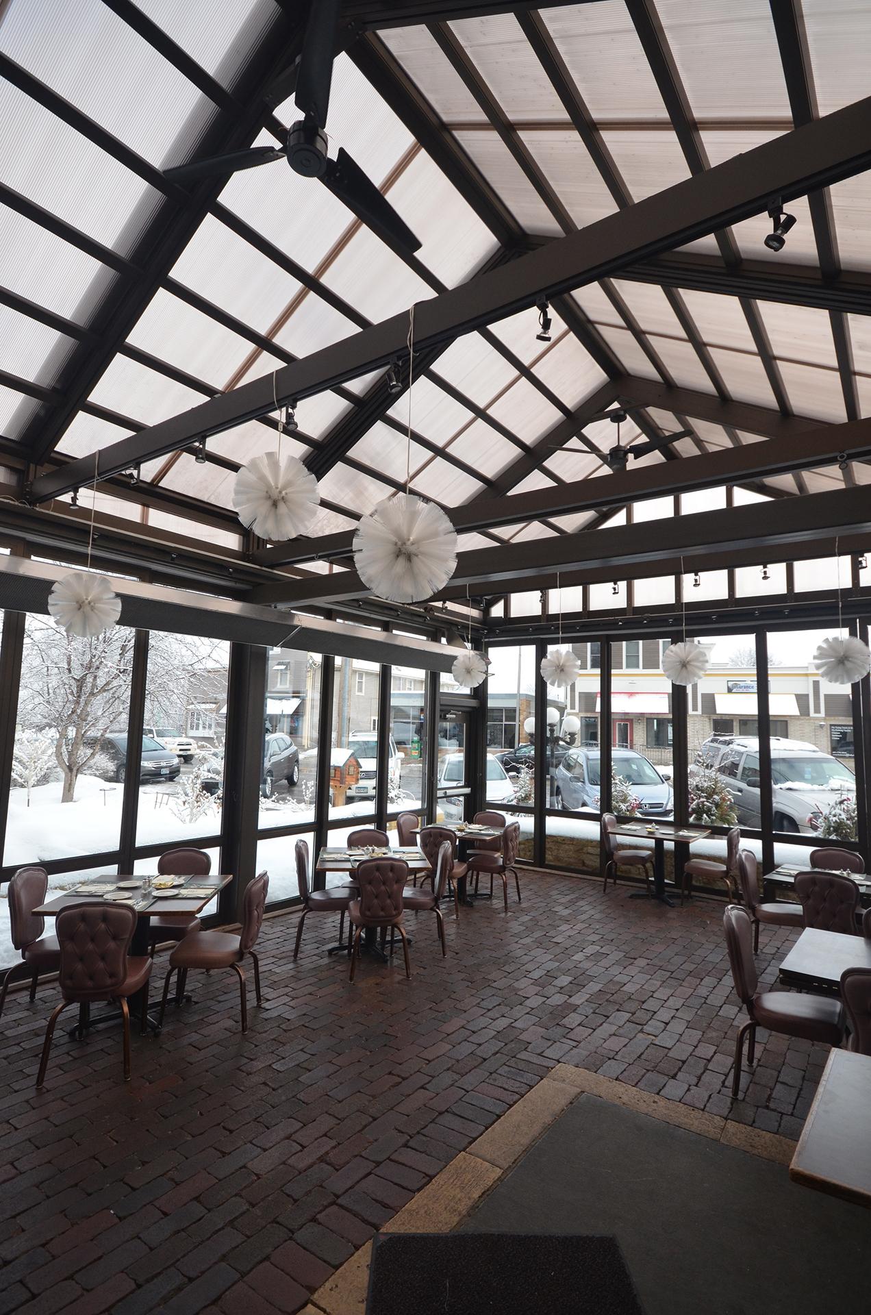 Restaurant patio in the winter
