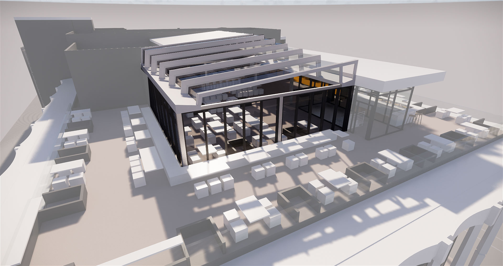 Rooftop retractable patio cover
