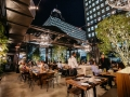 Restaurant patio with retractable roof