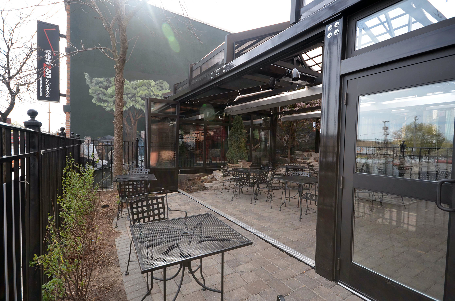 Opening folding walls on restaurant patio