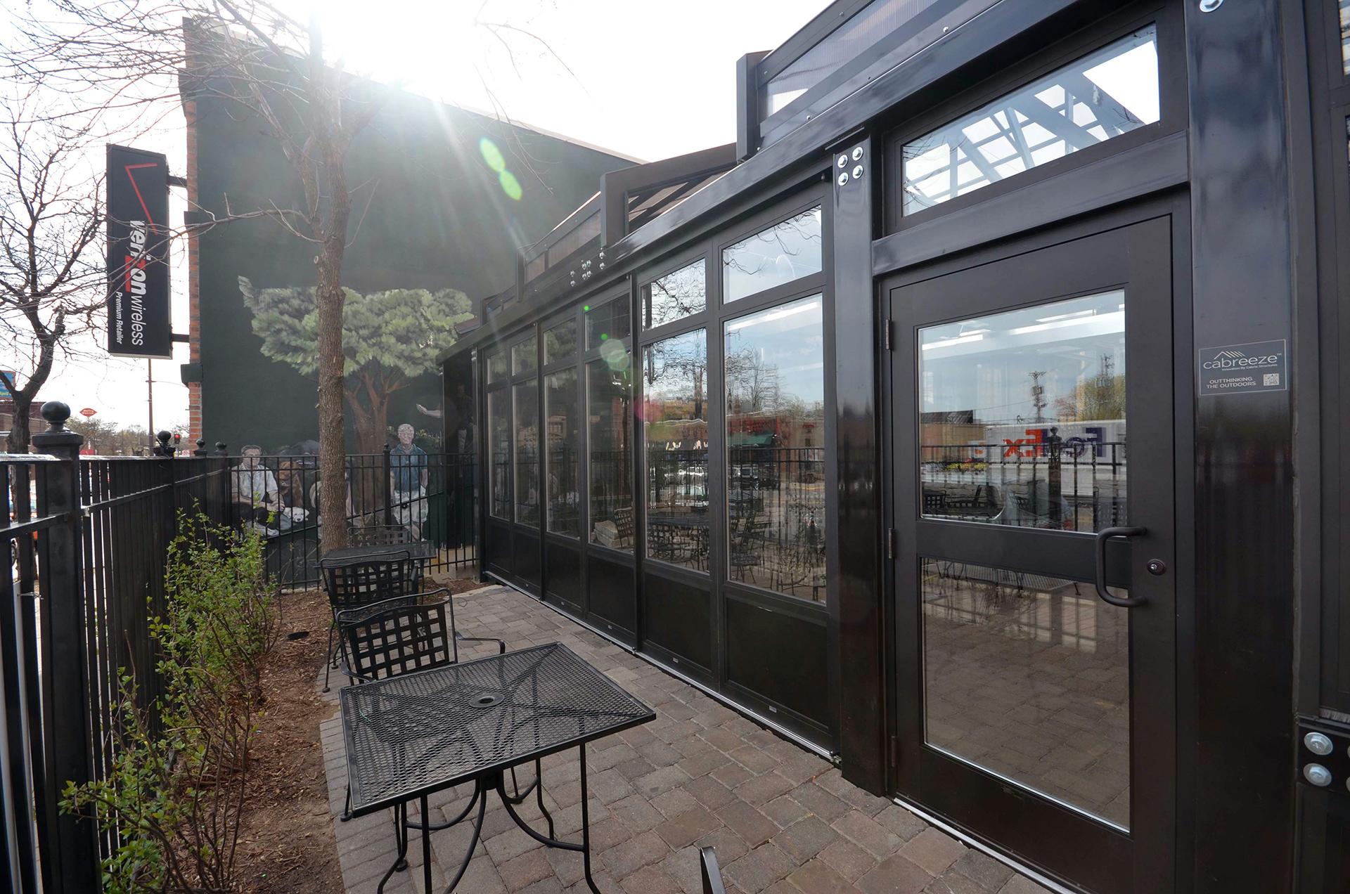 Opening folding walls on restaurant patio