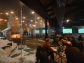 Frameless glass walls on restaurant patio structure